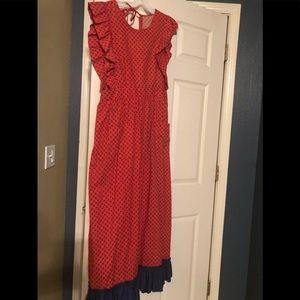 Dark orange vintage apron wrap dress